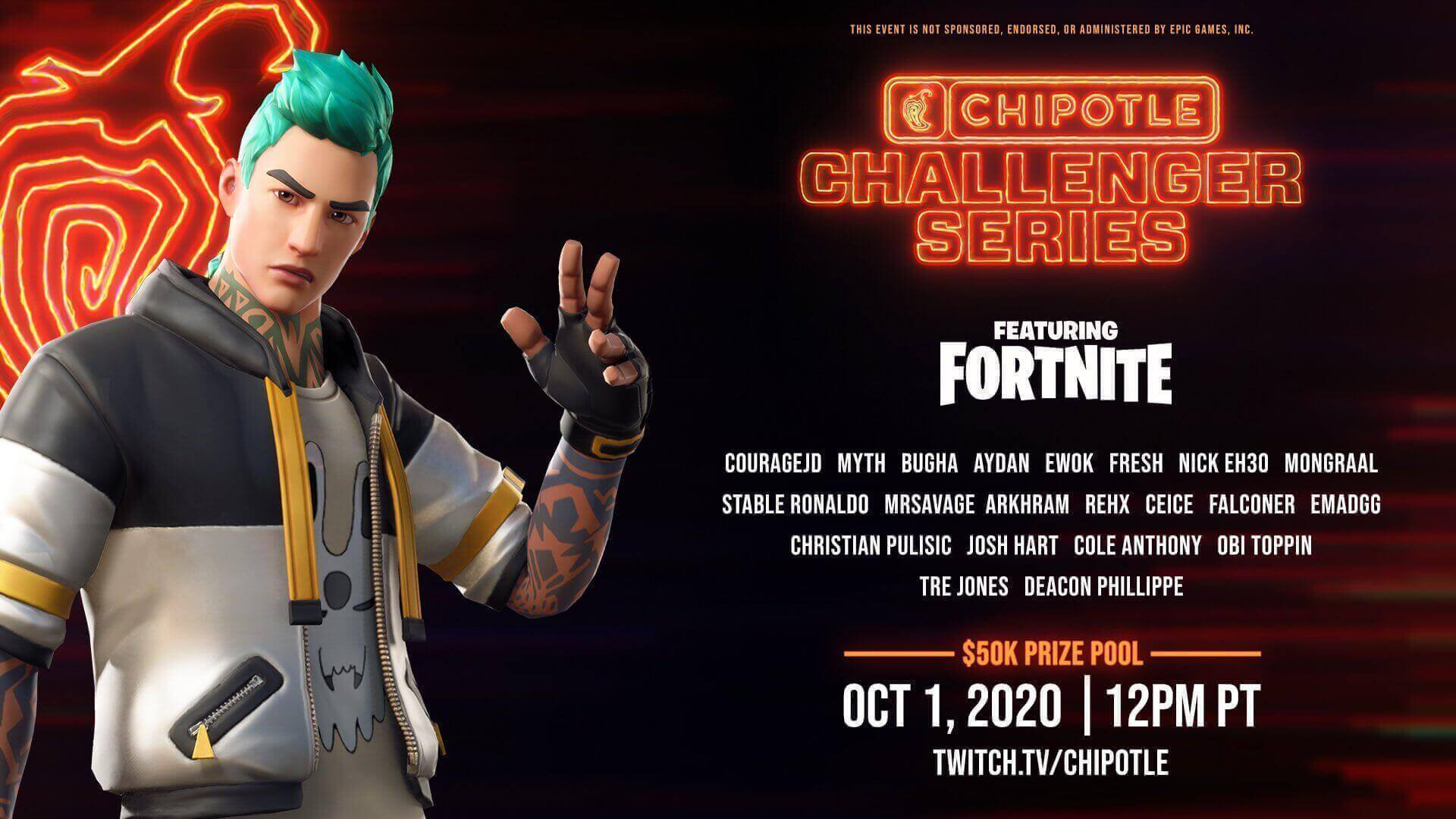 Play against Bugha, CouRageJD & more in the Chipotle Challenger Series Fortnite event