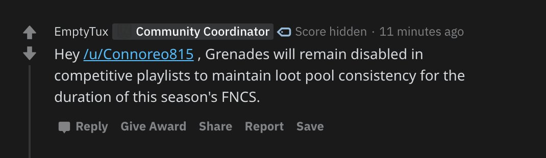 V12.40 Update, Grenades will stay out of competitive loot pools